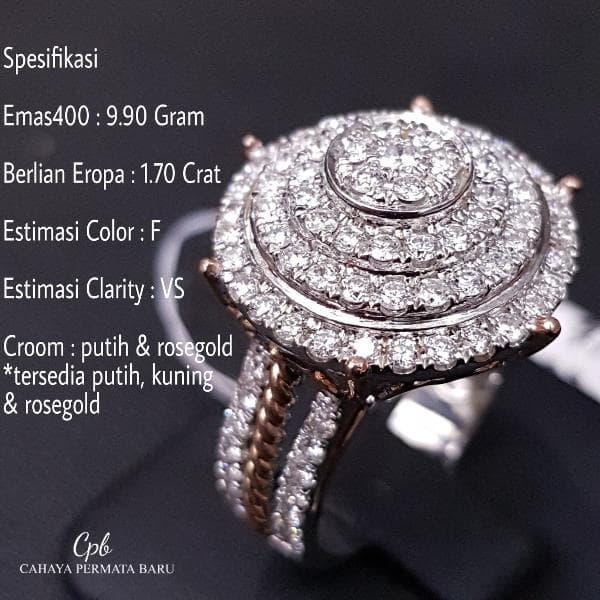 Cincin Emas400 9.90 Gram Berlian Eropa 1.70 Crat Fashion Murah Meriah
