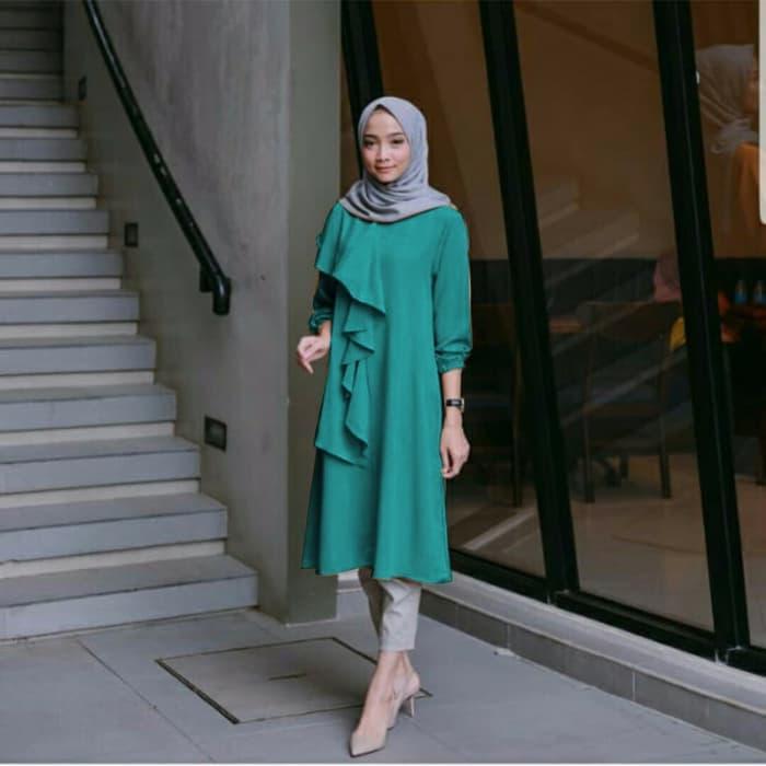 Promo Terbaru! baju muslim hijab blouse tunik atasan bulu tassel terompet tasel puff