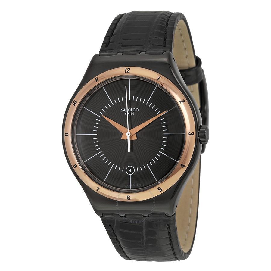 Swatch - Jam Tangan Pria - Hitam - Strap Hitam - YWB403