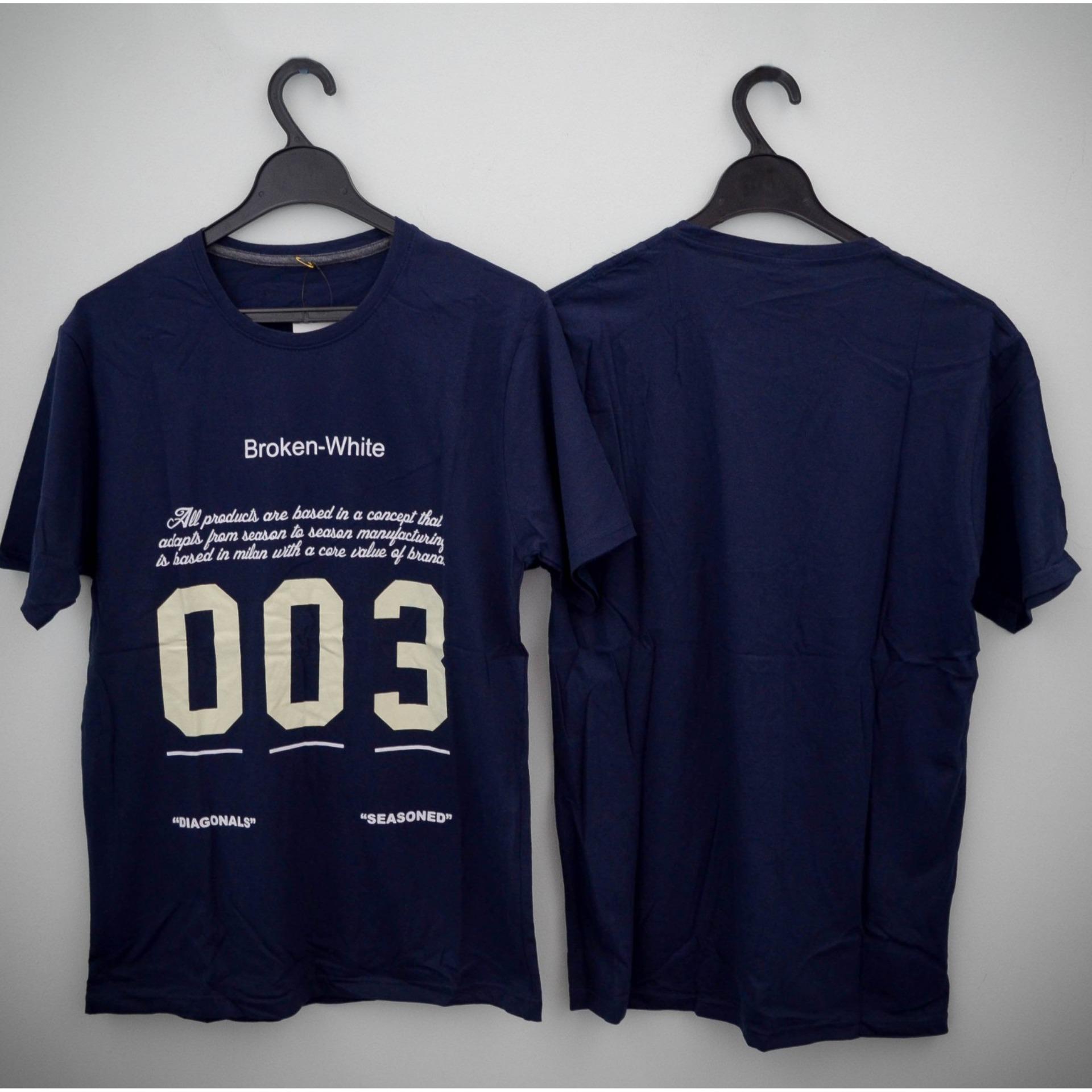 HIGH5 Fashion Pria Kaos Lengan Pendek BROKEN WHITE 003 Biru Navy