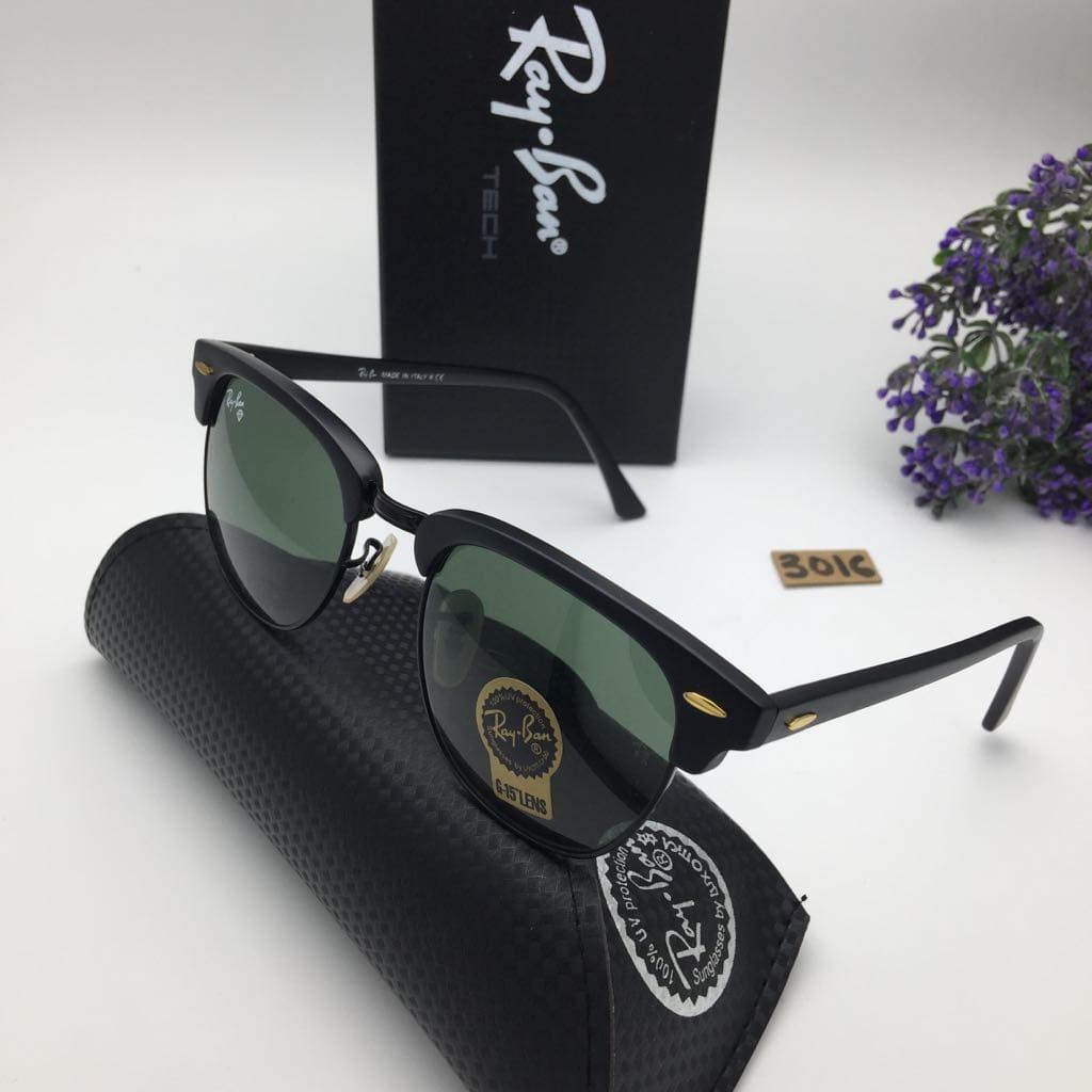Kacamata Rayban Clubmaster Kaca Sunglasses Pria Wanita Hitam Silver