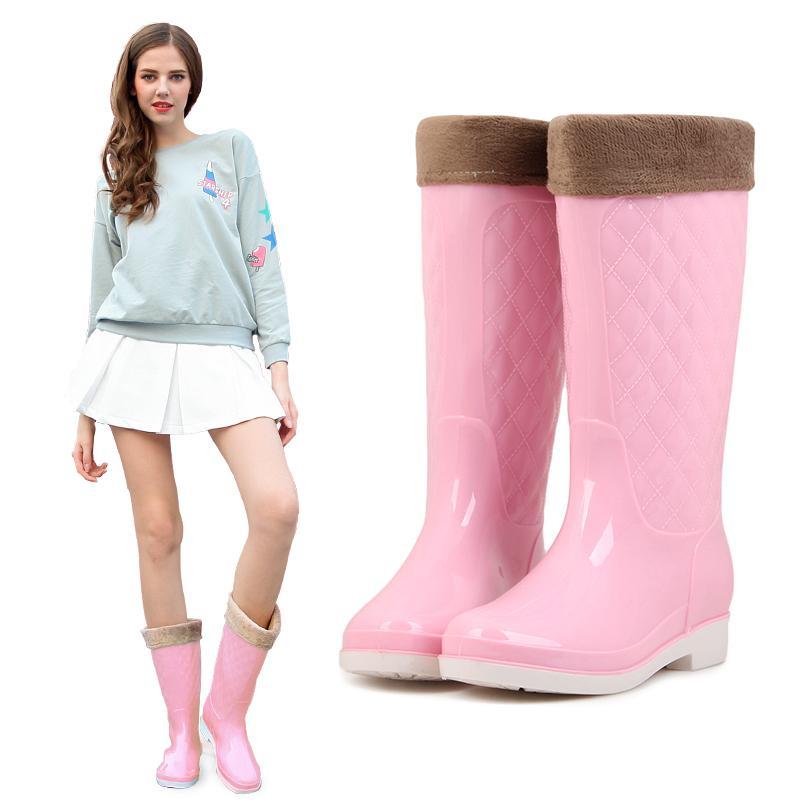 Musim Gugur Musim Dingin Tambah Beludru Sepatu Bot Hujan Wanita Panjang Modis Sepatu Anti Air Dewasa