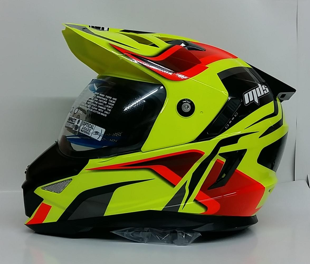 MDS Super Pro #2 Yellow Fluo Helm Full Face - Red Black