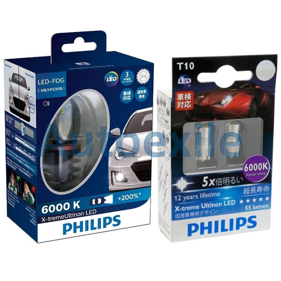 Paket Philips X-treme Ultinon LED H8 H11 H16 Lampu Depan Kabut dan Xtreme Ultinon T10 6000K Putih Lampu Senja Mobil