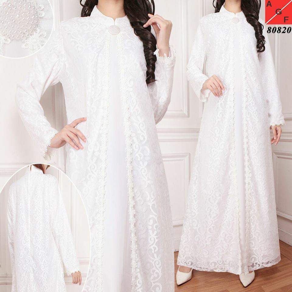 Gamis Brokat Brukat gamis putih Untuk lebaran pesta haji umroh