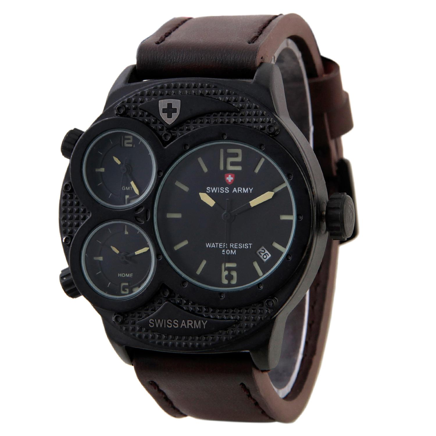 Swiss Army Triple Time Series - Cokelat - Kulit - SA 1060M BL DA BRW