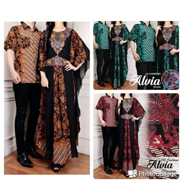Promo Hari Ini Atk Cp Alvia Brown Couple Mamah Papah Kaftan Kemeja Batik Songket Etnik Lengan Pendek