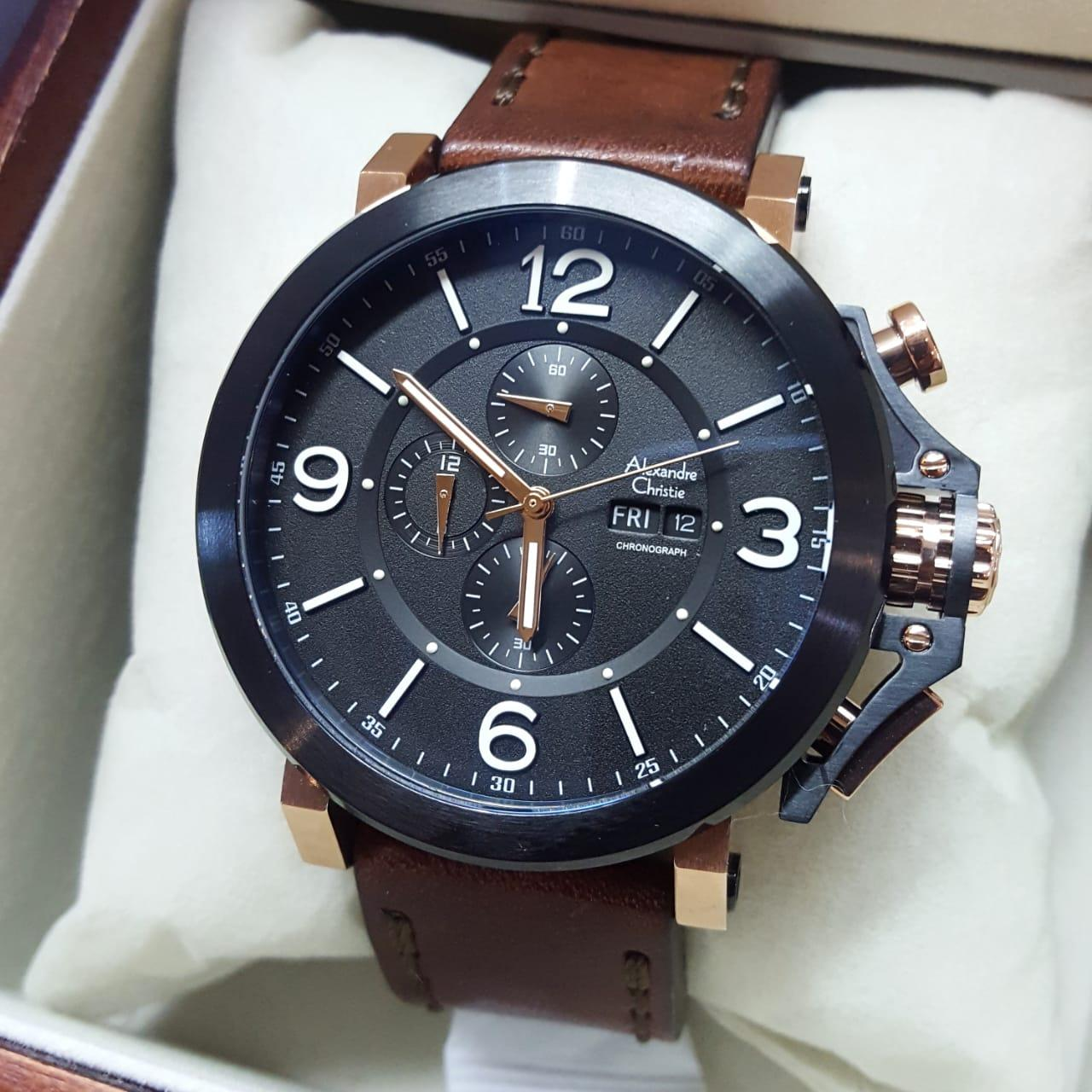 Buy Sell Cheapest Alexandre Christie Ac6281 Best Quality Product Jam Tangan Pria Original Black Stainless Leather Coklat Rosegold