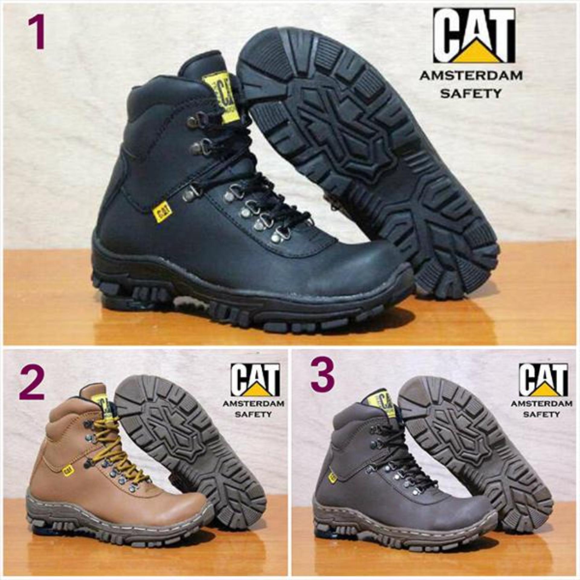 caterpillar amsterdam black.brown.tan sepatu fashion pria safety