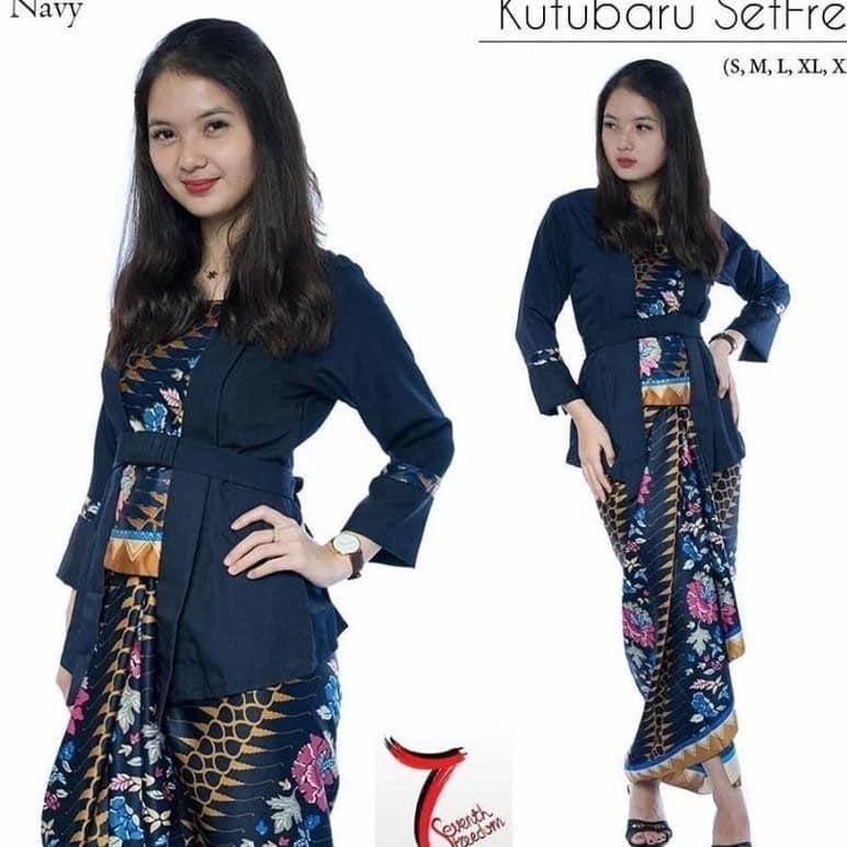 Setelan baju batik wanita- kebaya Modern kutu baru & rok lilit.