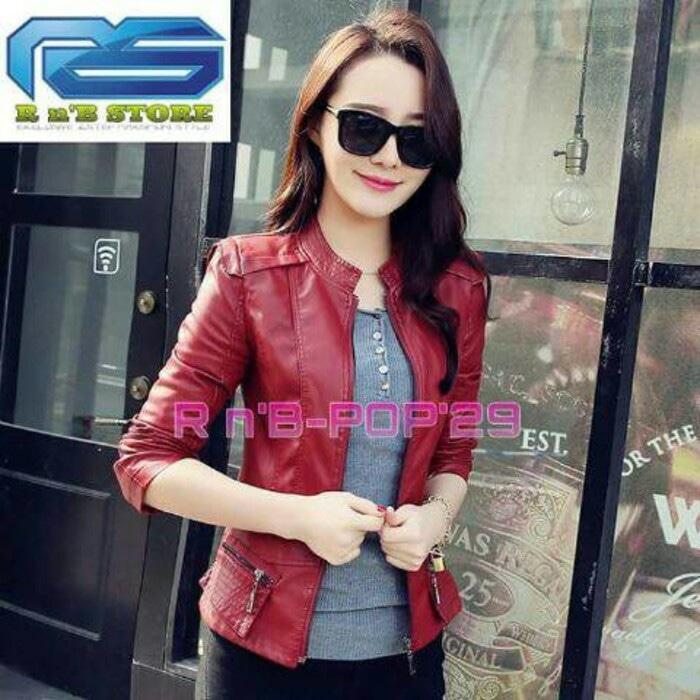 Jaket wanita semi kulit jaket casual style baru korea motor e44475dcd7