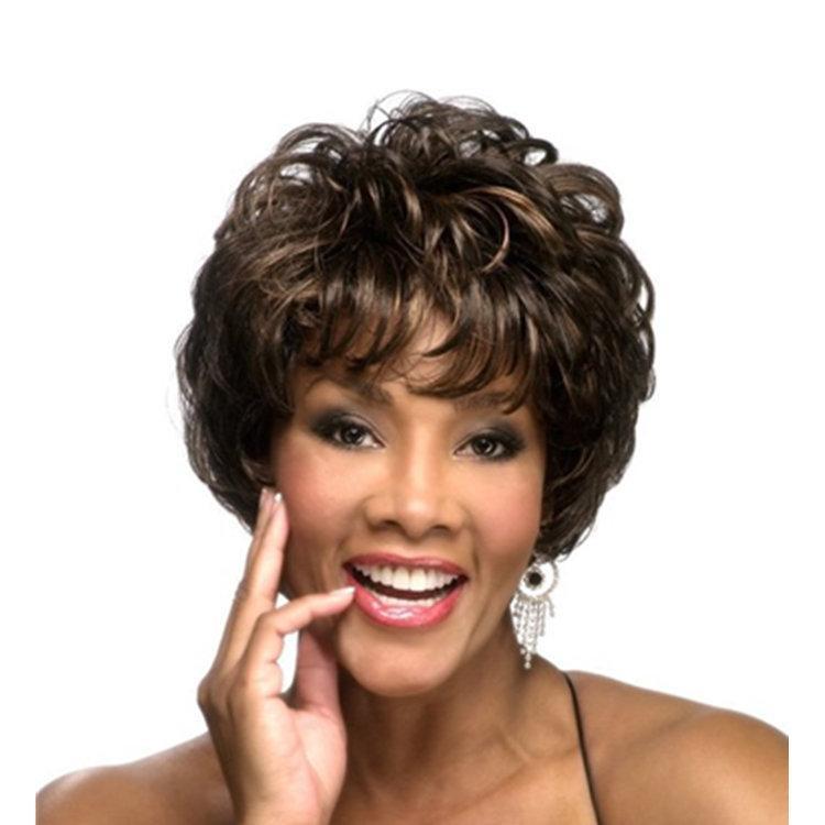 Wig rambut pendek perempuan kepribadian berbulu pendek curly temperamen amazon realistis high-end wig