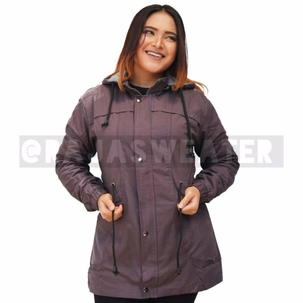 Jaket parka woman bahan parasut ungu muda polos