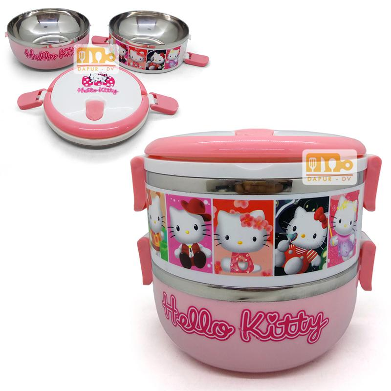 Toko David Lunch box Rantang susun 2 HK - pink / tempat makan stainless steel /
