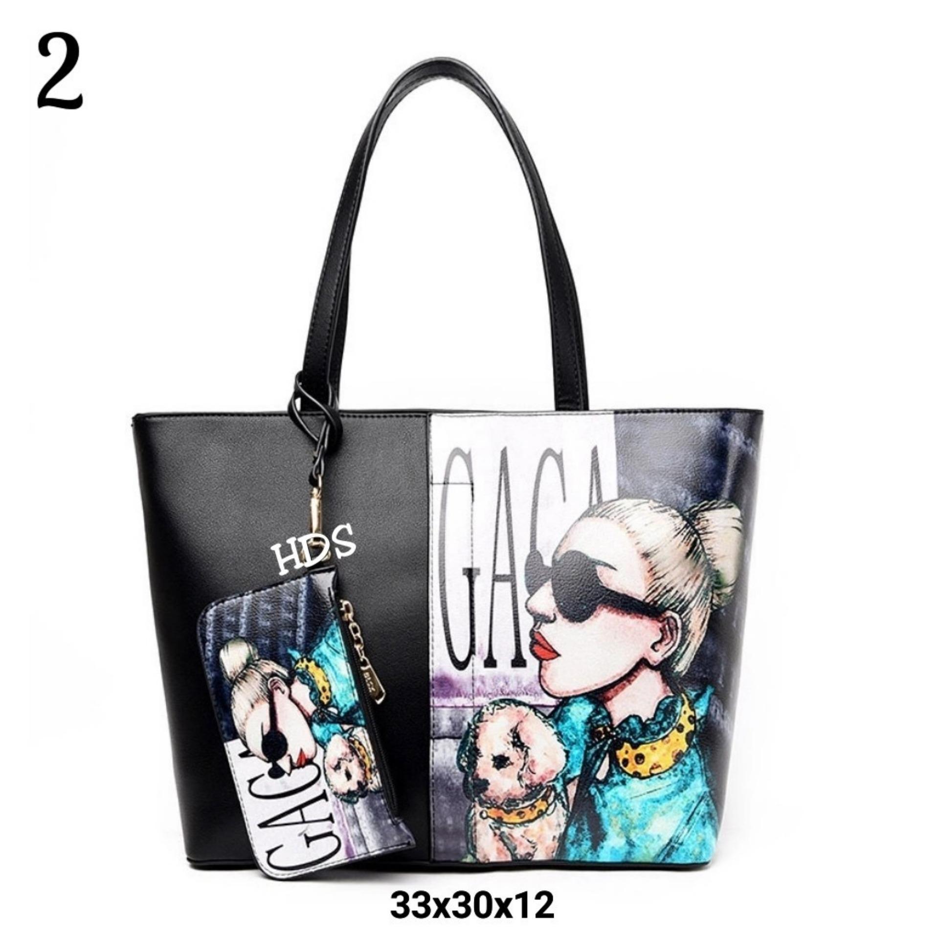 Amaryllis Tote Bag Printing Korean Style Lady Gaga / Tas Selempang Wanita Korean Style