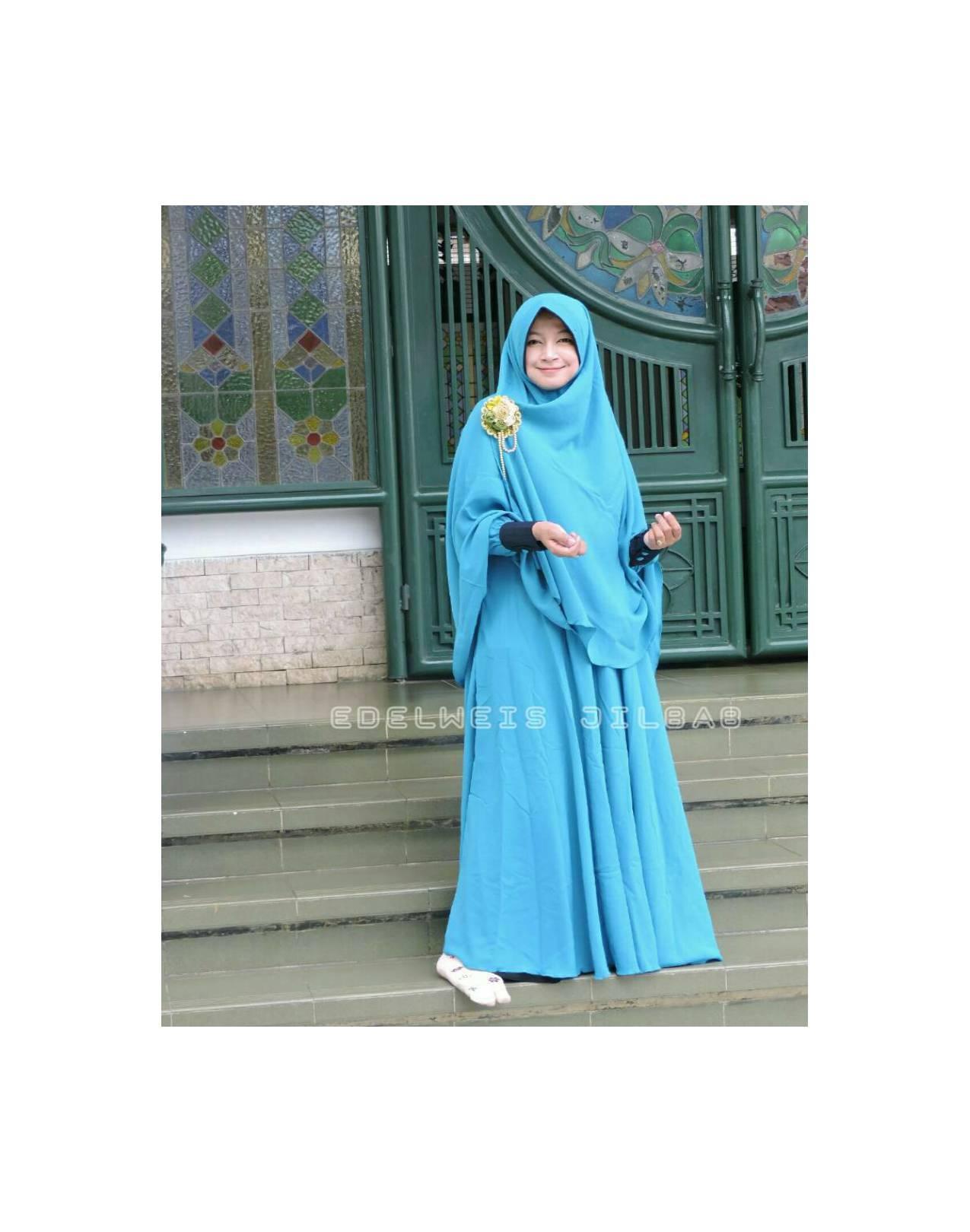 1 paket Gamis dan khimar Atsilah Tosca Edelweis Jilbab Size L