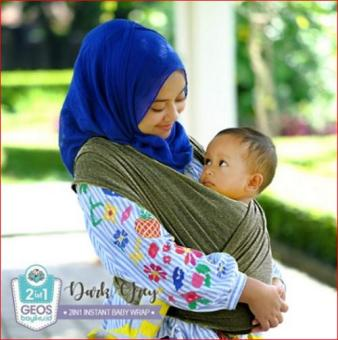 Pencarian Termurah Geos Gendongan Kaos Bayiku.id 2in1 Instant Baby Wrap - L Dark Grey