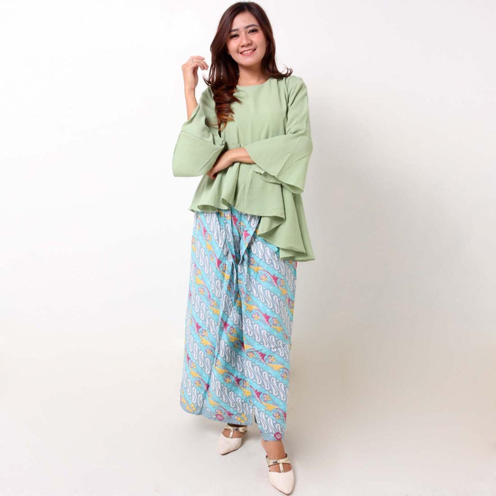 Batik Distro BA9077 Blus Celana Kulot Wanita - Hijau