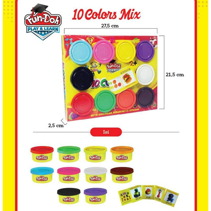 Fun Doh 10 Colors Reffil / Fundoh Lilin Mainan - Mainan Anak By Plasamainan.