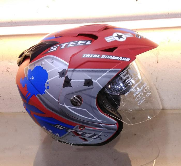 Helmet Dewasa Double Visor SNI Motoif Air Force Warna Merah Doff