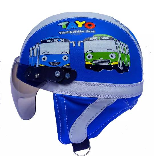 Helm anak broco retro kaca riben lucu usia 1-5 tahun tayo Biru Putih / helm anak kyt / helm anak bogo / helm anak karakter / helm anak kecil / helm anak gambar doraemon