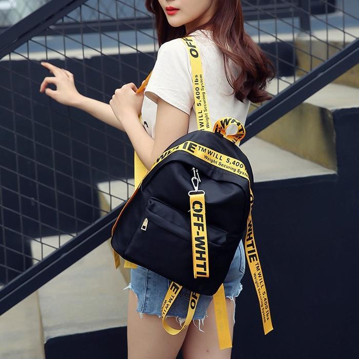 Ransel Mini label OFF WHITE Fashion Wanita Tas sekolah kuliah import korea murah batam