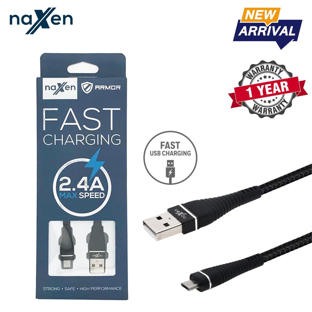 Naxen Kabel Data Charger Micro USB Armor Support Fast Charging 2.4A For Android Phone Garansi