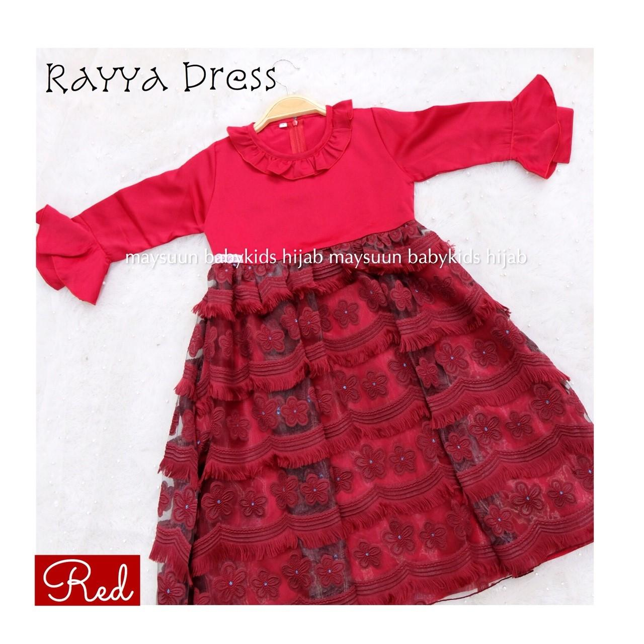 Fairuz Hijab, Baju Gamis Anak Perempuan Branded Mewah, Baju Muslim Anak Modern , Busana Muslim Anak Elegan Terbaru Warna Merah, Dress Pesta  ( Gamis Only )