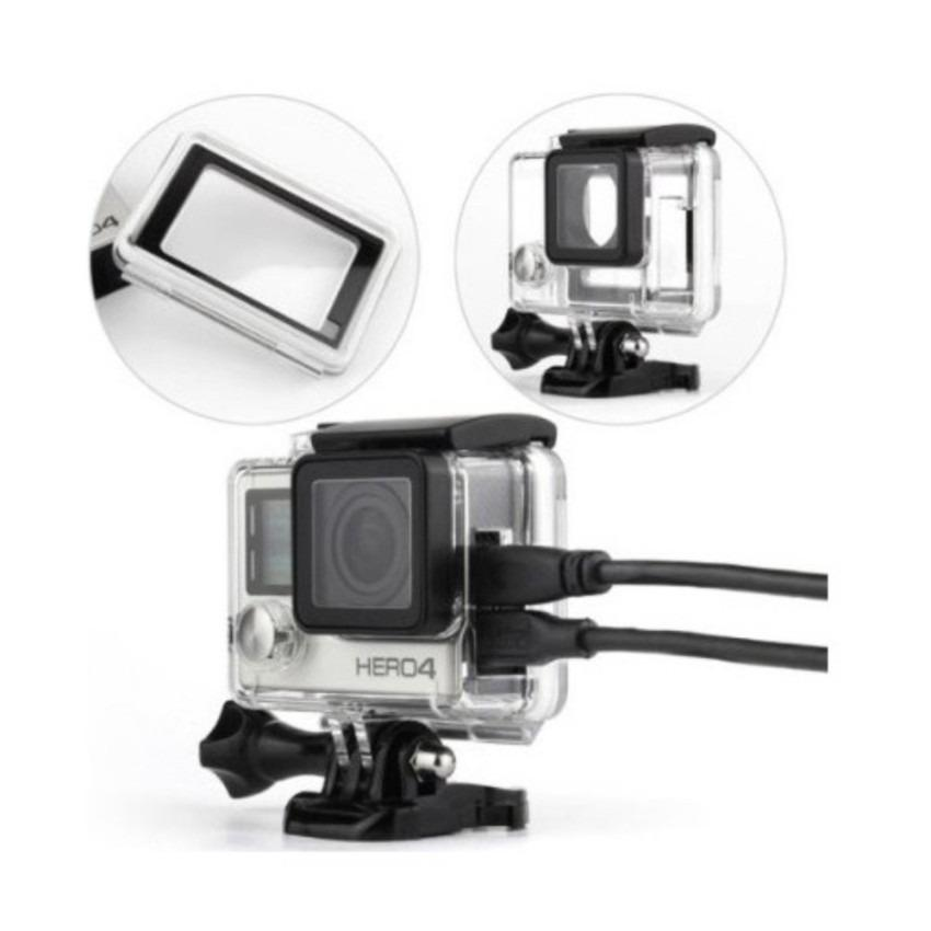 Protective Case Side Hole For GoPro 4 Action Camera Accessories Aksesoris Kamera Aksi Anti Debu Goresan Benturan Material PC Transparent Transparan Cases Casing Pelindung Go Pro Perlengkapan Audio Video Vlog Foto Photo Photograph s3017 - Black