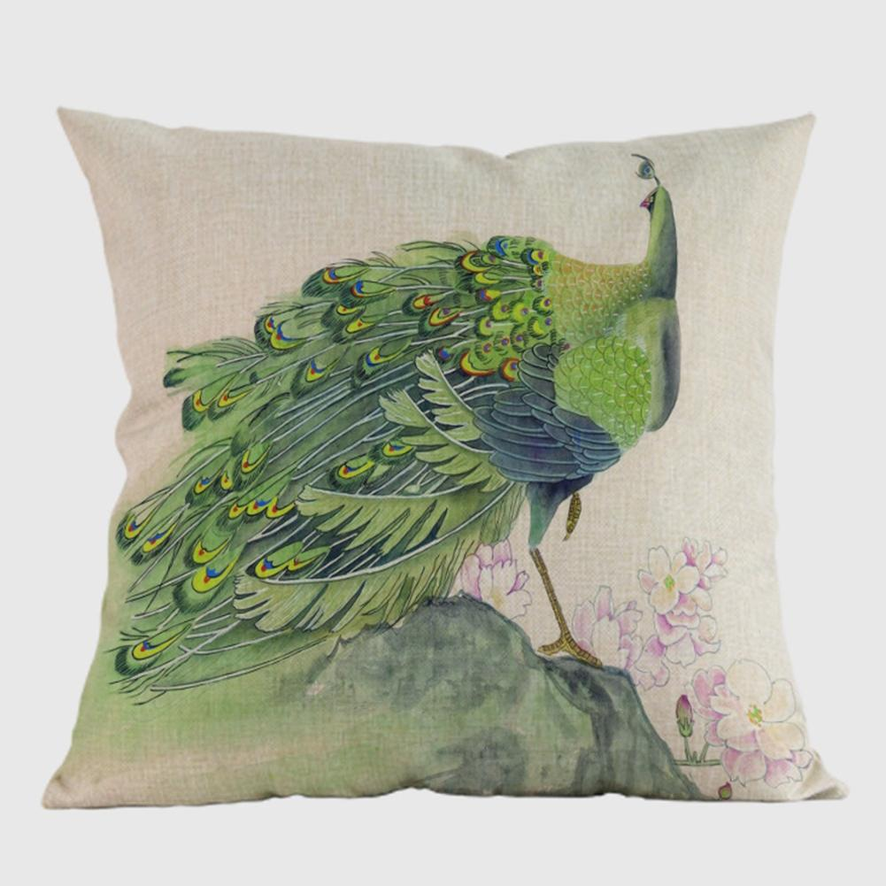 LumiParty Home Hotel Sofa Pillowcase Car Back Cushion Covers Peacock Pattern Printed Cotton Linen Decorative Pillow Case Specification:D 45x45