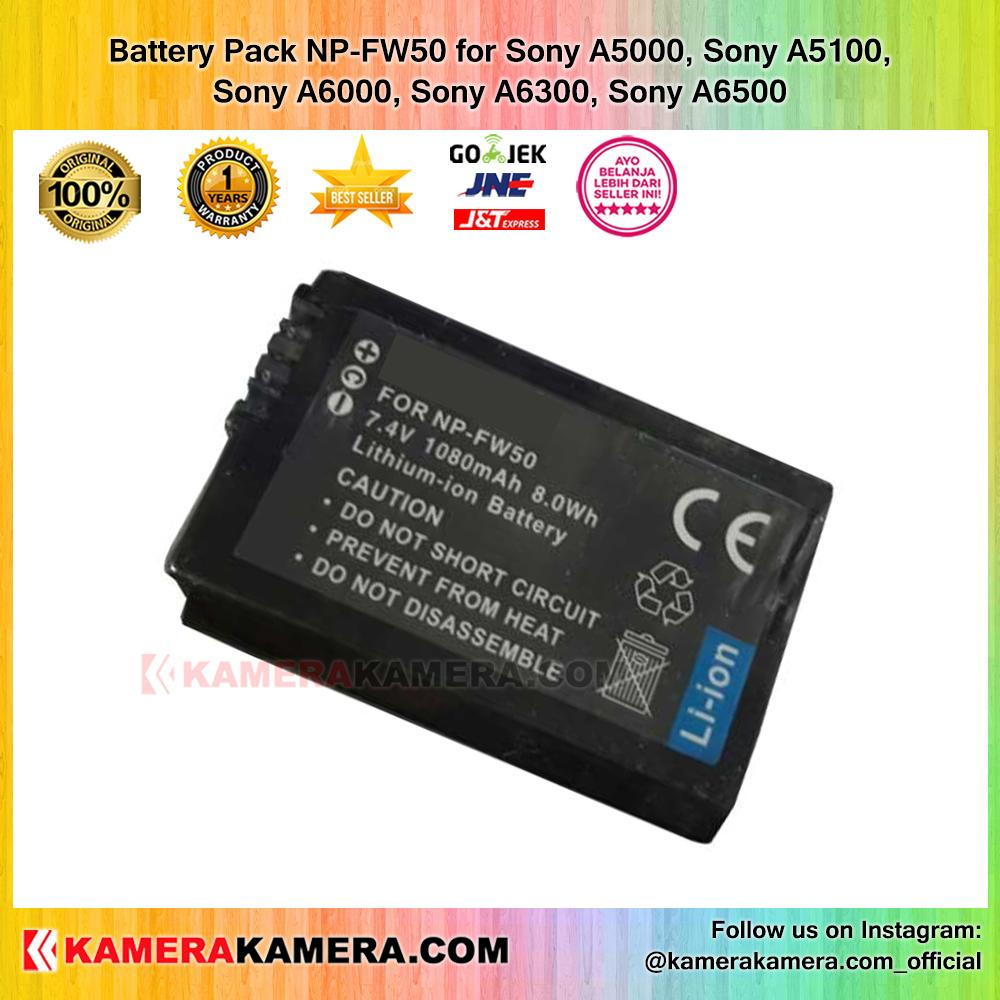Battery Pack NP-FW50 for Sony A5000, Sony A5100, Sony A6000, Sony A6300, Sony A6500