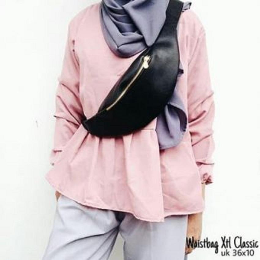 Ubay Shop Tas Selempang / Waist Bag XTL Classic / Tas Pinggang Wanita Cantik Tebal TERMURAH - Hitam