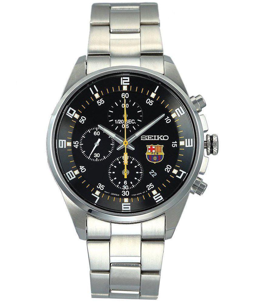 Jam Tangan Pria Seiko Chronograph FC Barcelona SNDD23 Strap Stainless Steel Silver