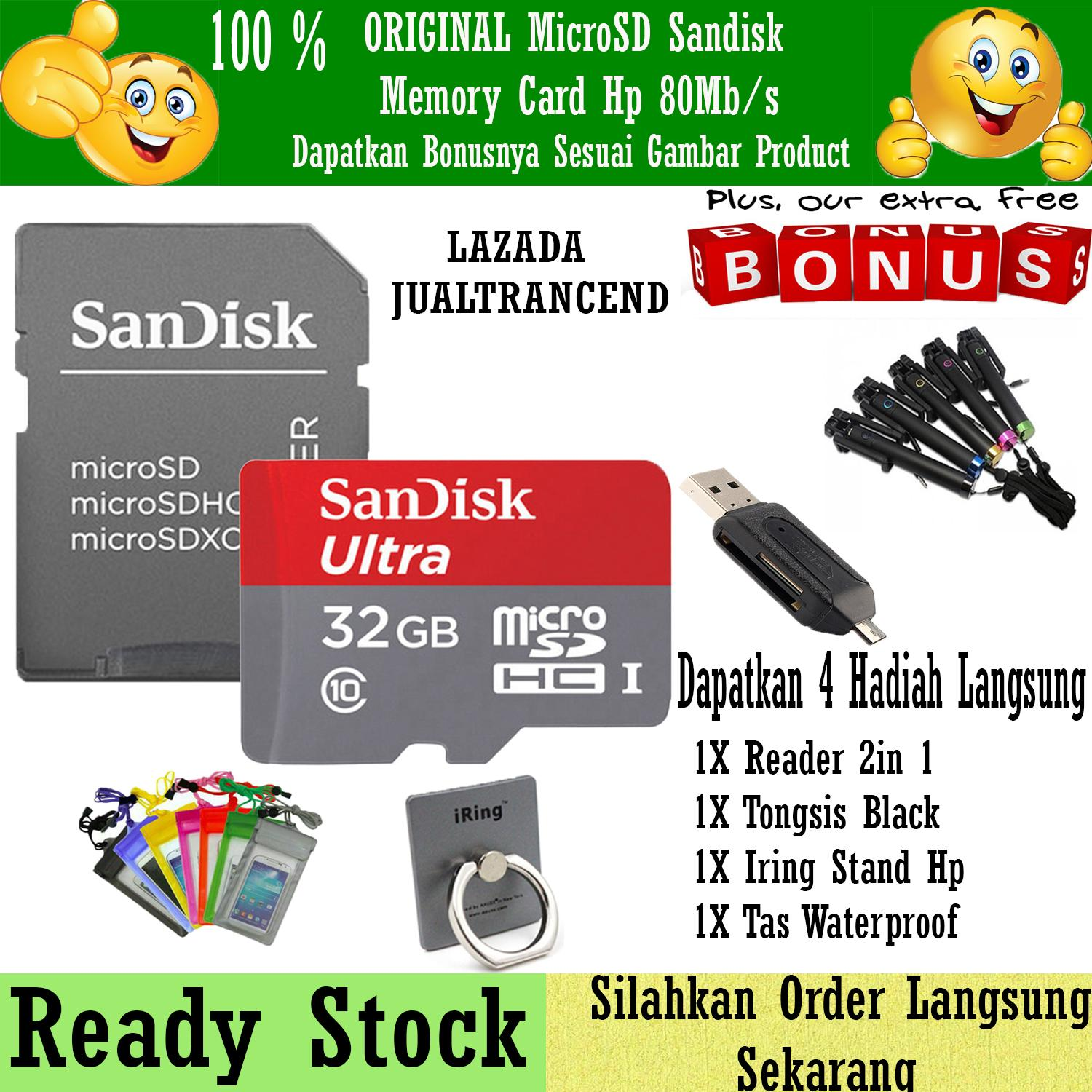 SanDisk Ultra Micro SD 32GB 80MB/s Class 10 UHS + Gratis Reader 2in1 + Iring Stand Hp + Iring Stand Hp + Tongsis Black