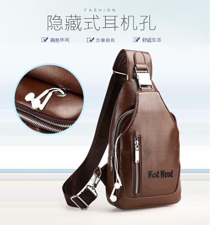 SLETING Usb Headset Port Bag Tas Selempang Import Cowok Man Laki Bags / tas slempang terlaris