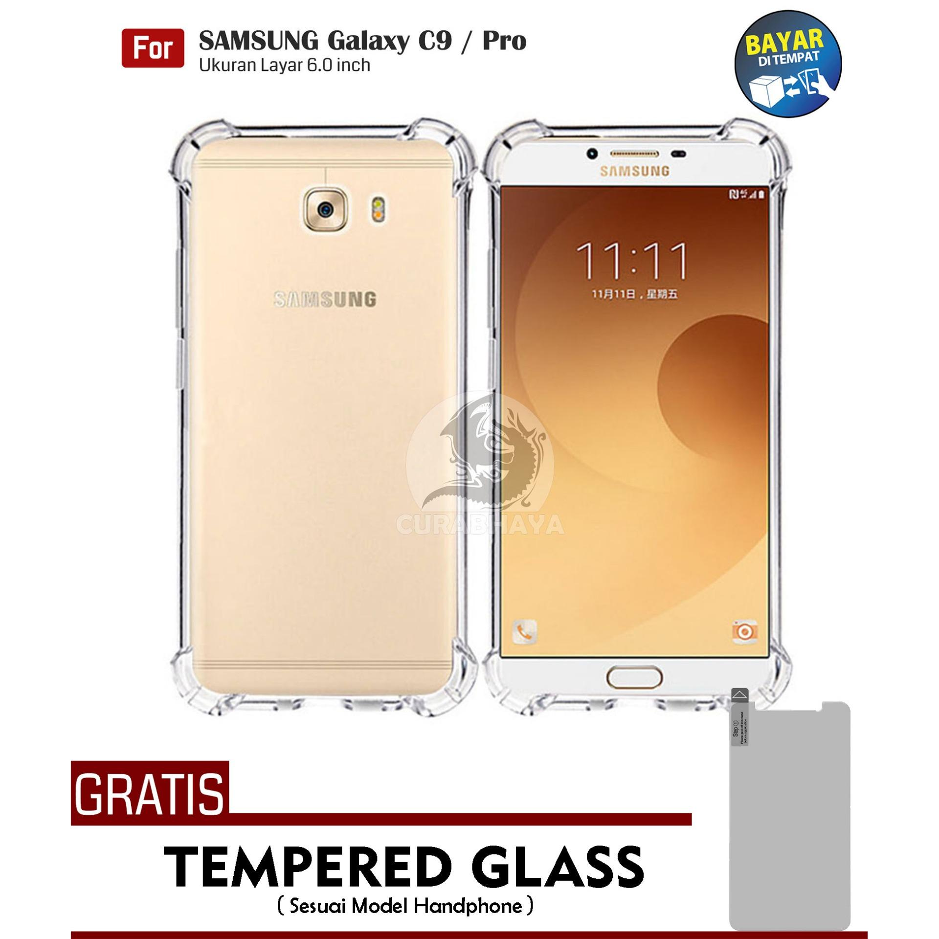 AirShock Samsung Galaxy C9 / C9 Pro / Duos | Anti Crack Premium Softcase Cushion ShockProof + Gratis Free Tempered Glass Screen Protector