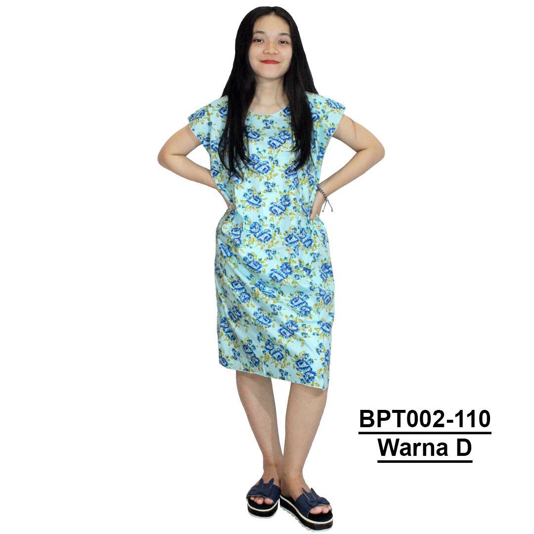 Dress Santai, Midi, Atasan Batik - Motif Bunga - (BPT002-110) Batikalhadi Online
