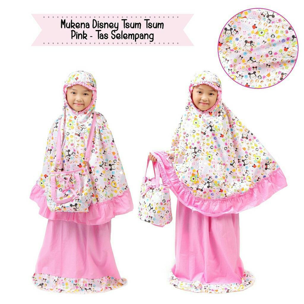 Madeena - Mukena Anak Karakter Tsumtsum (Tas Slempang) - Pink
