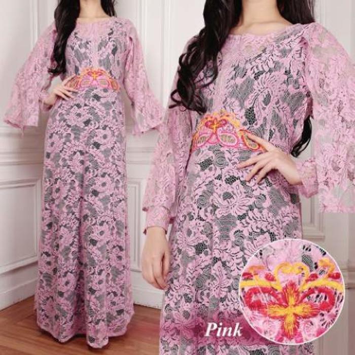 [Kaftan Maya Pink SW] kaftan wanita brukat serena pink