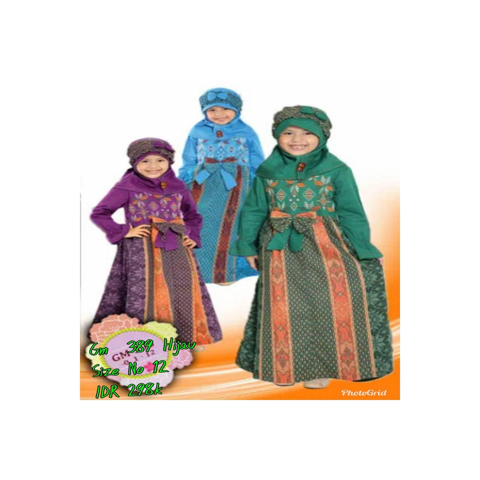 Keke Baju Anak Muslim GM 398 Hijau No12 Diskon / Sale /Obral 25%