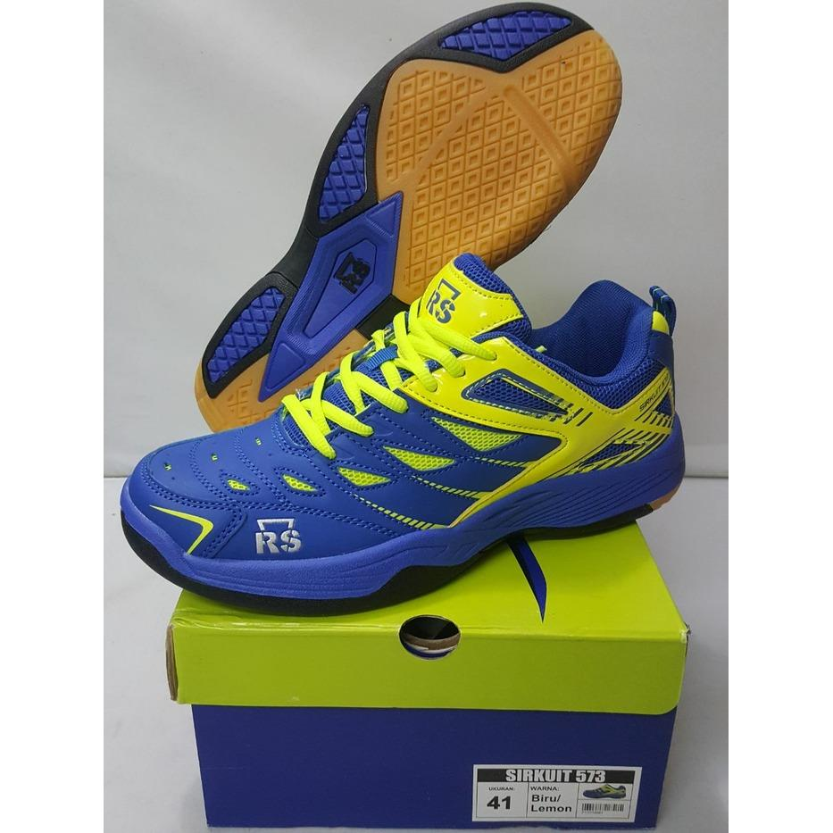 Sepatu Badminton RS Sirkuit 573 Blue Lemon