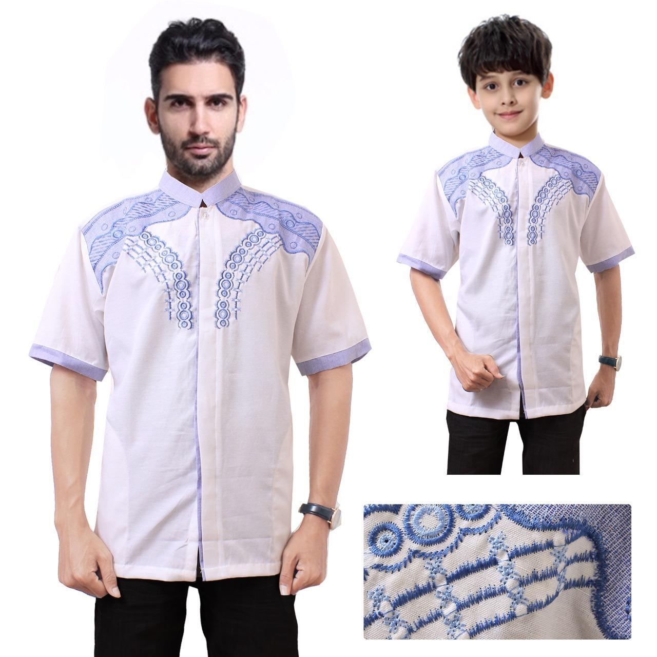 Shining Collection Baju Koko Ivas Kemeja Muslim Lengan Pendek Ayah dan Anak