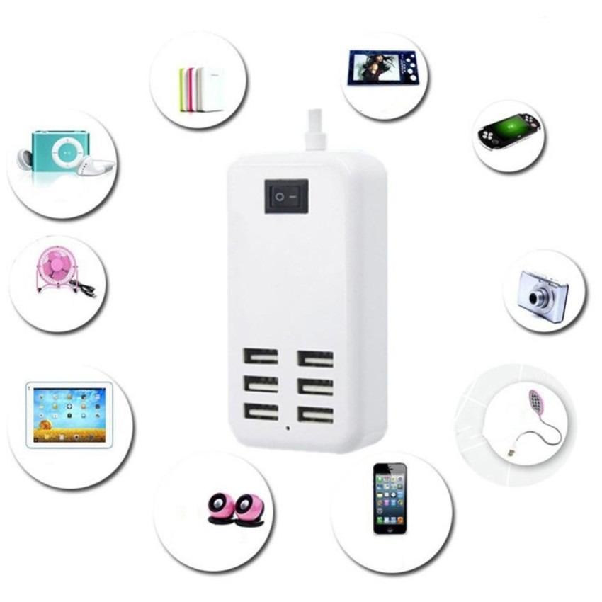 6-port 20 W 4A USB Desktop Charger Kompatibilitas Tinggi fast charger dengan Tombol Daya untuk IPhone 6 dan 6 Plus, IPhone 6 S dan 6 S Plus, IPad Air 2 dan Air, IPad Mini 3, Samsung, Sony, US Plug-Intl