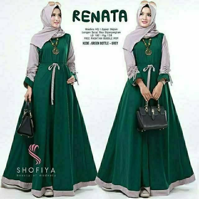Baju Muslim Original Gamis Renata Dress Baloteli Panjang Dress Casual Wanita  Pakaian Hijab Modern Baju Gamis 473b7b253b