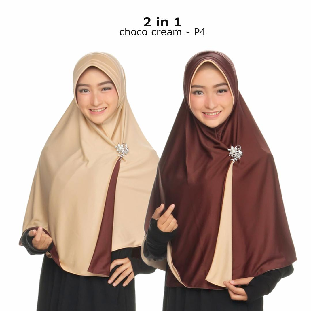Jilbab 2 Warna / Fashion Muslim Terbaru Wanita Kekinian Model Sekarang Model Jaman Now / Jilbab Bolak Balik Instan 2 in 1 / Hijab Instant Bergo Dua warna / Khimar Syari Jumbo / Jilbab Pengajian Pesta Multifungsi Pet Anti Tembem