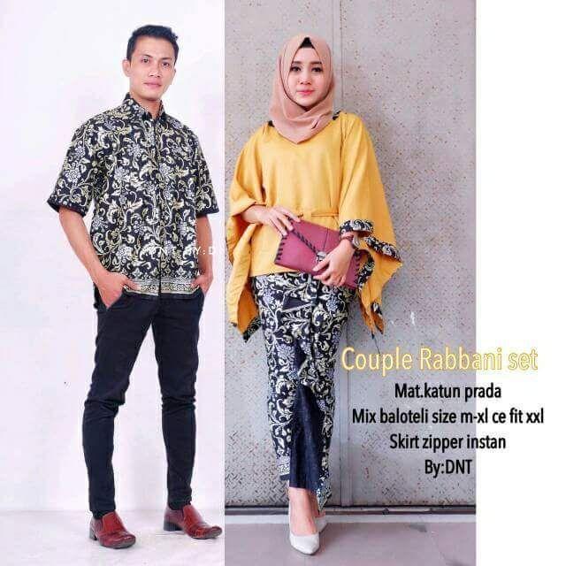 TERMURAH - Batik Couple / Couple Batik / Batik Sarimbit Rabbani Kuning