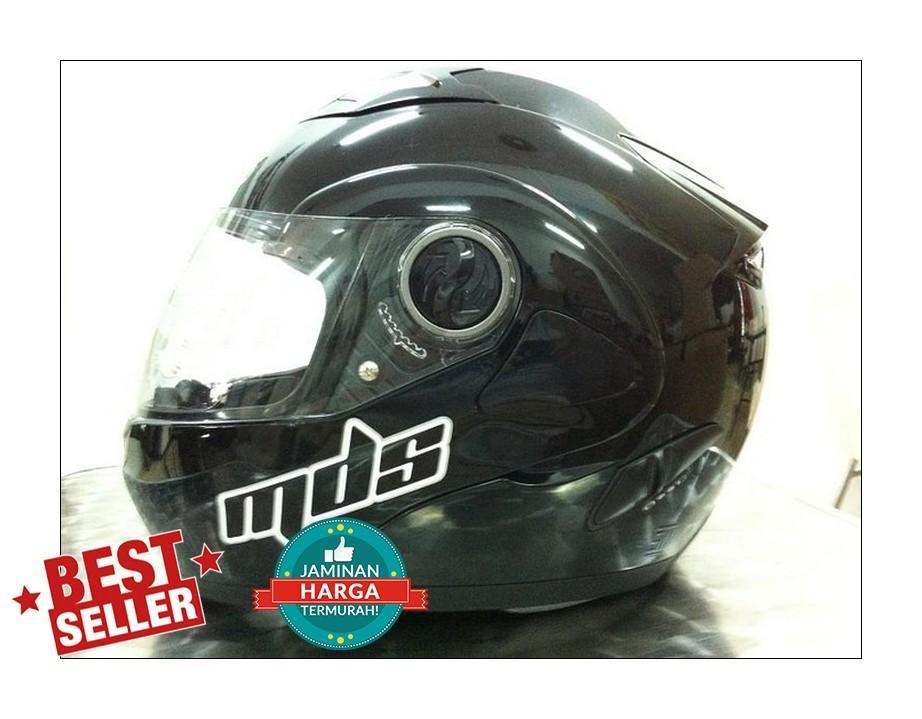 Helm MDS Pro Rider Black Solid Flip Modular FullFace Full Hitam Visor