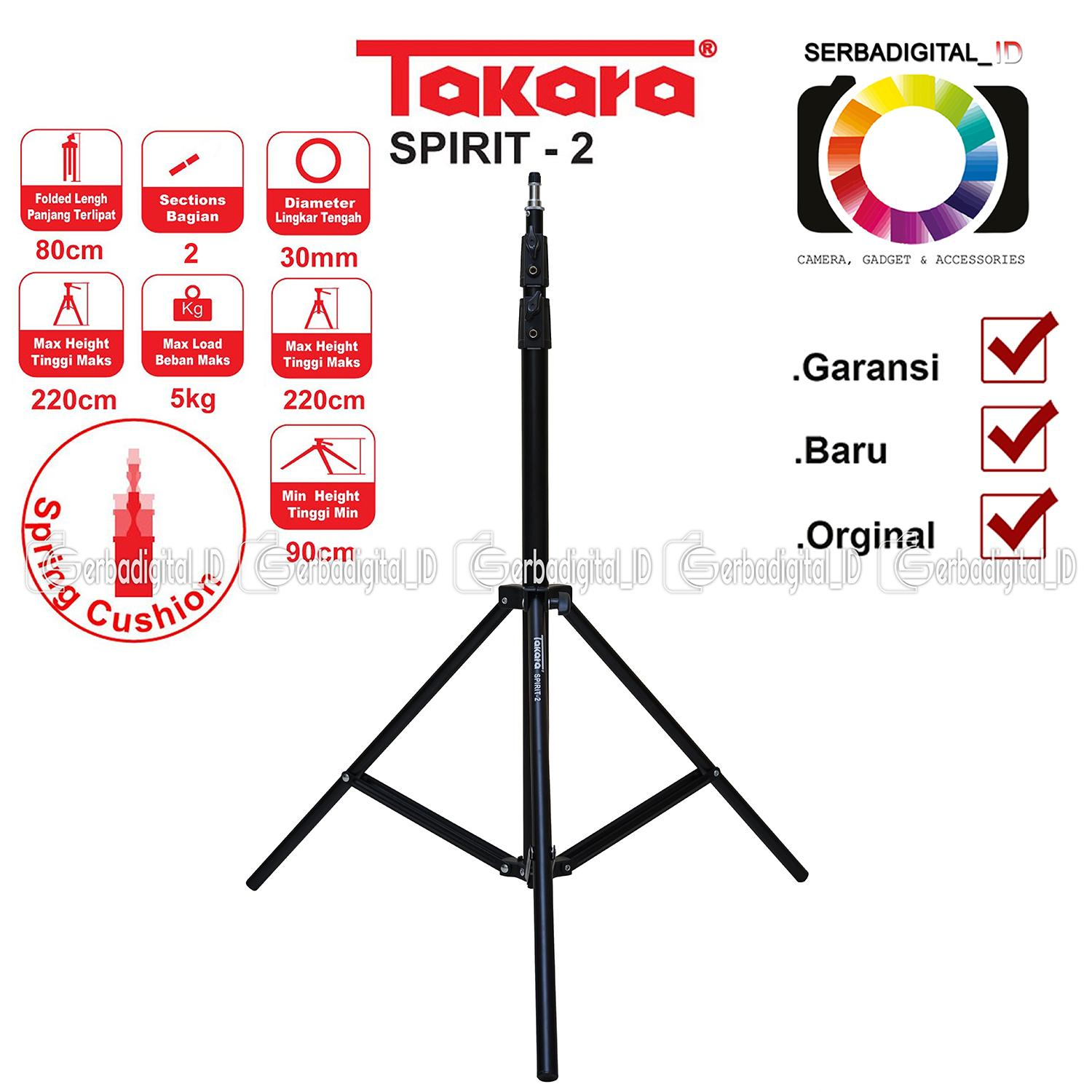 Tripod Takara Klik Harga Eco 233a Lightweight Spirit 2 Light Stand Studio Tipe Spring Cushion Per