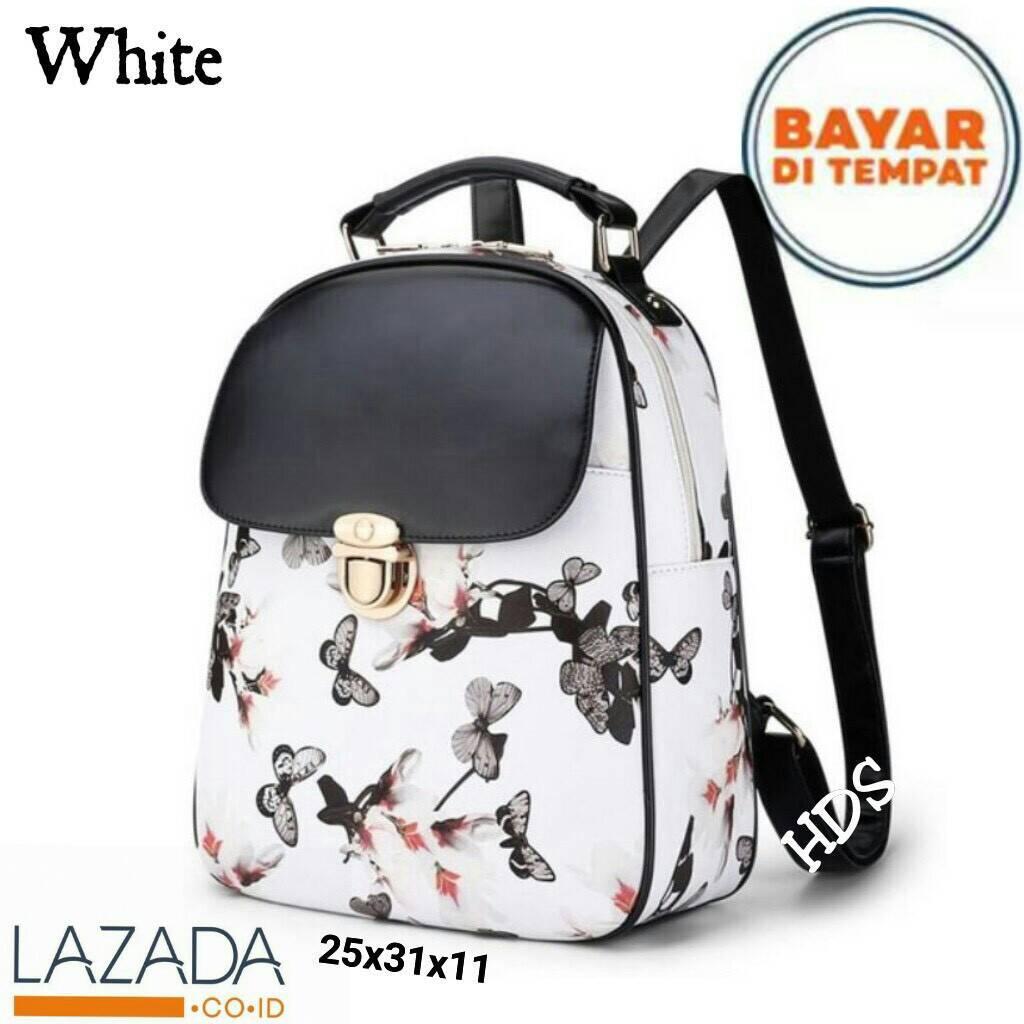 CLAAFASHION Tas ransel backpack elegan wanita kupu bunga