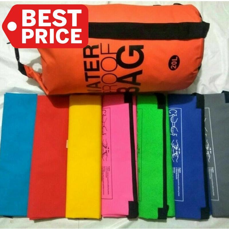 TOKO49 - Dry Bag 20 LIter Tas Lipat Panjang Pendek Travel Gym Anti Air - BIRU MUDA